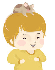 Kid Boy Pet Mouse Illustration