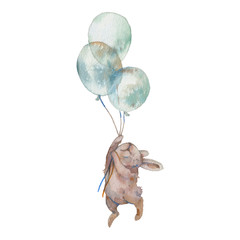 Watercolor bunny with air balloons illustration. Hand painted rabbit fly. Cute animal isolated on white background. Cartoon hare in boho chic style