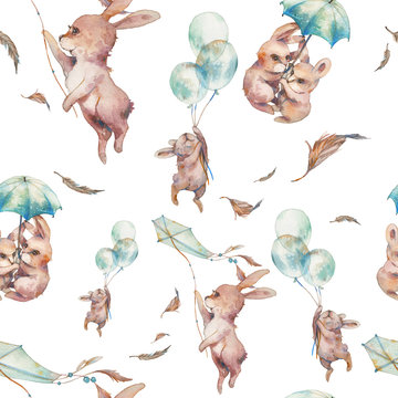 Watercolor cartoon texture with flying rabbits. Baby seamless pattern design. Bunny wallpaper with umbrella, air balloons, feathers, kite in sky.
