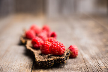 Ripe raspberry on the wooden bark. Selective focus. Shallow depth of field.
