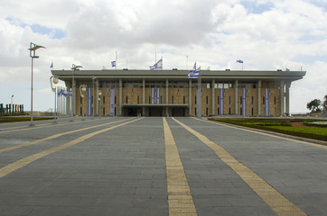 9 May 2018 Visitors standing outside the gates of the ultra modern designed house of parliament or Knesset located in Jerusalem Israel