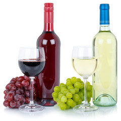 Wines wine tasting collection bottle red white alcohol grapes isolated