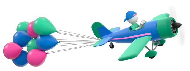 3D Illustration Flieger blau und pink