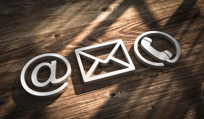 3D Illustration Kontakt Symbole metal