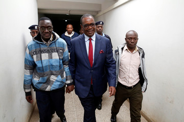 Evans Kidero, former governor of Nairobi, arrives to court to face charges of corruption-related crimes at the Mililani Court in Nairobi