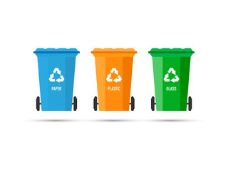 Three trash cans (garbage bins) with recycle mark on a white background. Vector illustration.