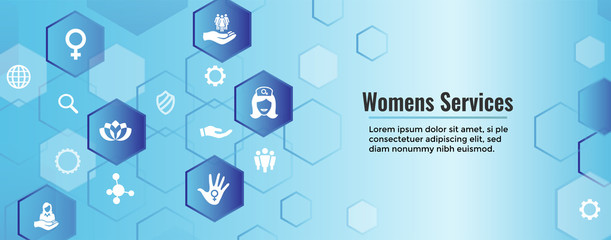 Women's Services Icon Set and Web Header Banner with Female Symbol