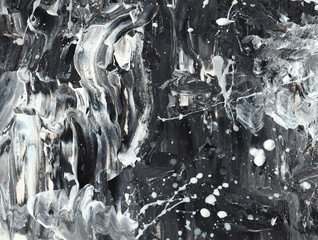 Abstract acrylic black and white texture. Background for design
