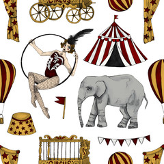 Circus seamless pattern. Circus tent, elephant, balloon, flags, ball on white background