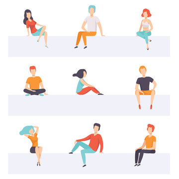 Diverse people sitting on different positions set, young faceless guys and girls in casual clothes sitting down vector Illustrations on a white background