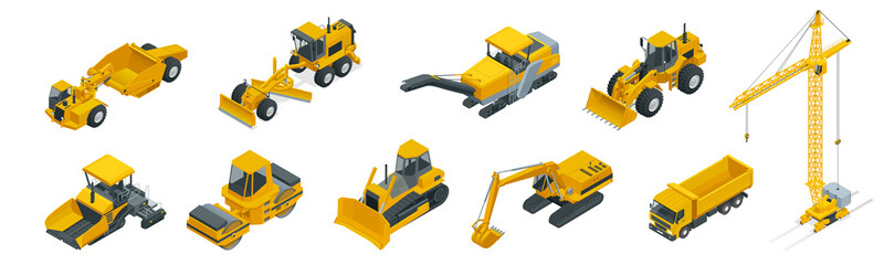 Isometric icons set of construction equipment and machinery with trucks crane and bulldozer. Isolated vector Building machines illustration on white