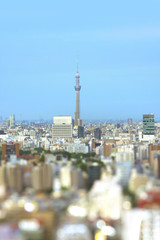 Aerial view in tilt-shift of the city of Tokyo with the skytree tower in the center and bokeh around.