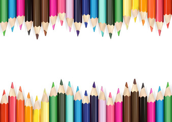 Colorful Pencils on White Background - Detailed Illustration as Design Elements for Your Project, Vector