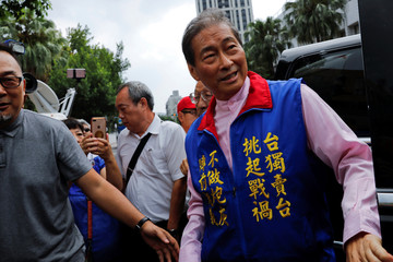 Leader of the China Unification Promotion Party Chang An-lo arrives at the Taipei District Prosecutors Office in Taipei