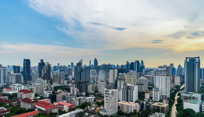 scenic of cityscape in day time nearly evening skyline and cloudscape
