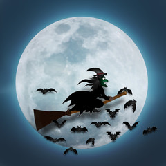 The witch fly in the dark night and full moon as Halloween day concept. vector illustration.