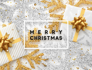 Christmas background with gifts box and shining golden and silver snowflakes. Greeting card Merry Christmas. Vector Illustration.
