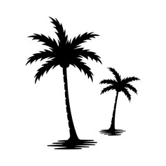 Palm tree silhouette vector image.