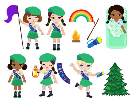 Collection of girls scouts camping outfit, summer camp activities