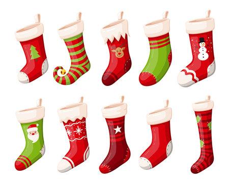 Christmas stockings or socks isolated vector set