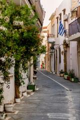 Beautiful street in Rethymno in the evening time. Crete island, Greece.