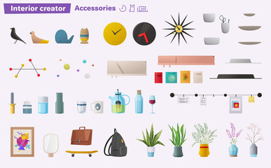 Set of accessories for home interior. Cartoon vector illustration