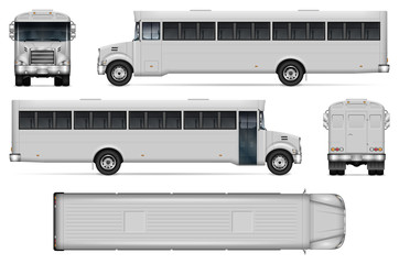 Correction bus vector mockup on white background with side, front, back, and top view. All elements in the groups on separate layers for easy editing and recolor
