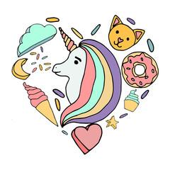 Cute rainbow vector color unicorn