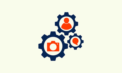 gear wheel with camera sign vector illustration. vector icon