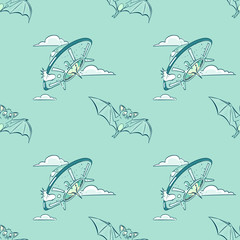 bat and flying saucer seamless pattern