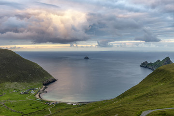 A storm brewing at sunset over Village bay on the island of St. Kilda
