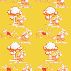 Running ostrich and boxing kangaroo seamless pattern