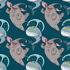 dancing happy elephant and whale seamless pattern