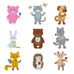 Cute animals hippopotamus pig cat dog hare bear wolf fox hedgehog deer