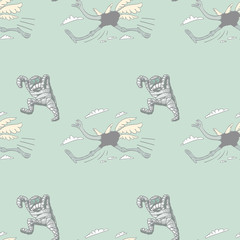 running ostrich and mummy seamless pattern