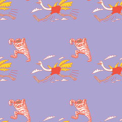 running ostrich and mummy seamless pattern