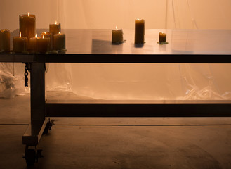 Candles on a long table