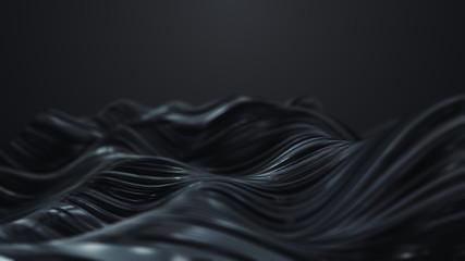 3d render Abstract black wave on dark background
