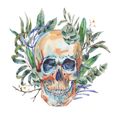 Watercolor vintage skull with green tropical leaves