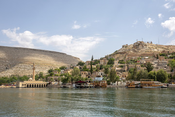 Sunken mosque and houses of the town Halfeti in Sanliurfa, Turkey