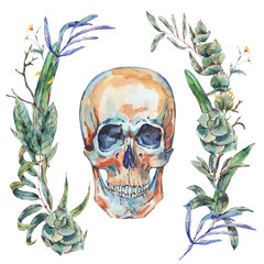 Watercolor skull with wreath of green tropical leaves