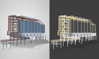 Silos industriels en 4 couleurs personnalisables avec 2 rendus ou variantes graphiques différents