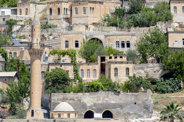 Mosque and houses in Halfeti, Sanliurfa, Turkey