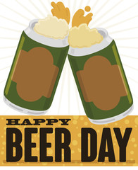Delicious Canned Beers Toasting during Beer Day Event, Vector Illustration
