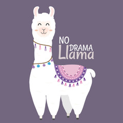 Cute Llama design with no drama llama motivational quote.