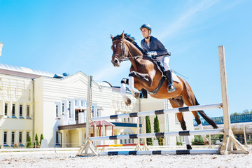 Hurdling horse. Professional experienced horse man wearing blue jacket feeling excited while horse hurdling Wall mural