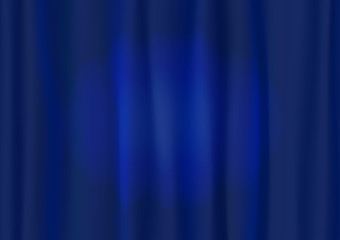 Theater blue curtain with spot lighting. Beautiful abstract vertical dark blue strip rays background with lines.