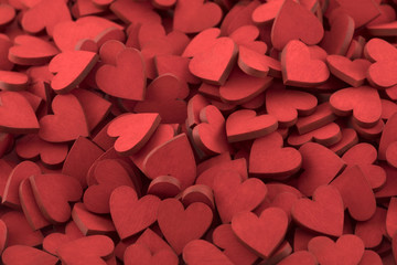 Hundreds of small red hearts
