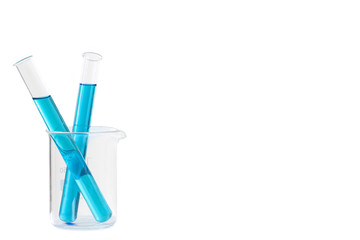 Two Laboratory tubes with blue liquid in measuring beaker with reflection isolated on white