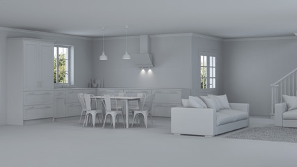 Modern house interior. Repairs. Gray interior.  3D rendering.